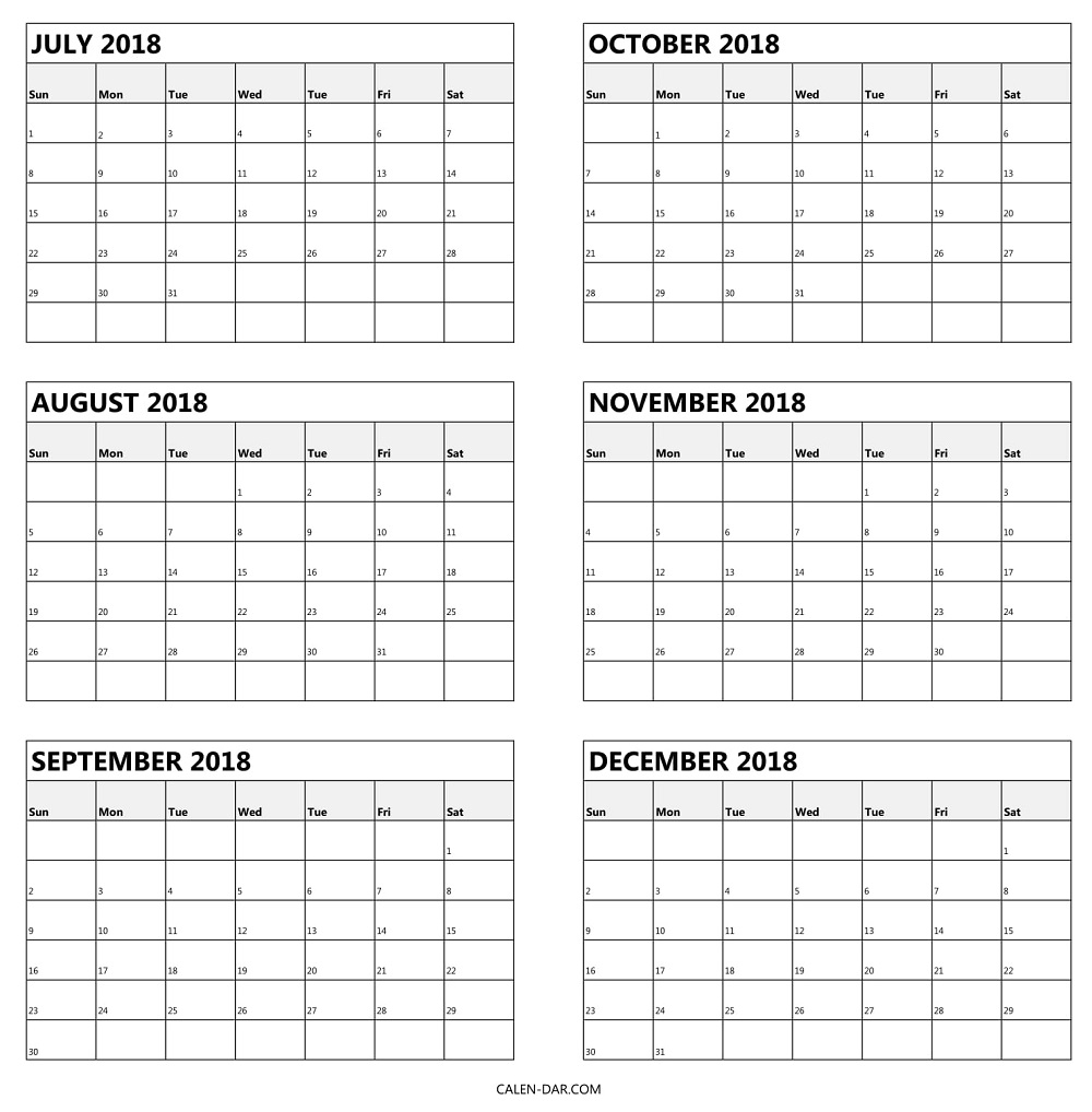 July To December Calendar 2018 Free Printable 6 Month Template3abry