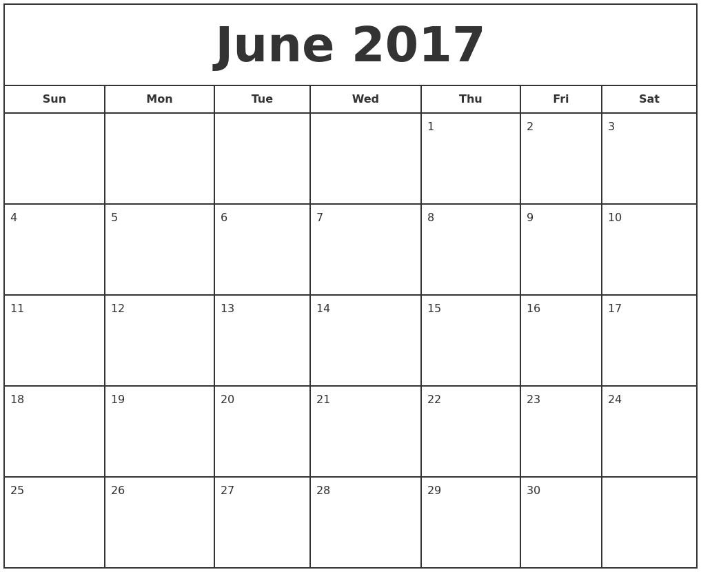 June 2017 Calendar Word 2017 Calendar With Holidays  Xjb
