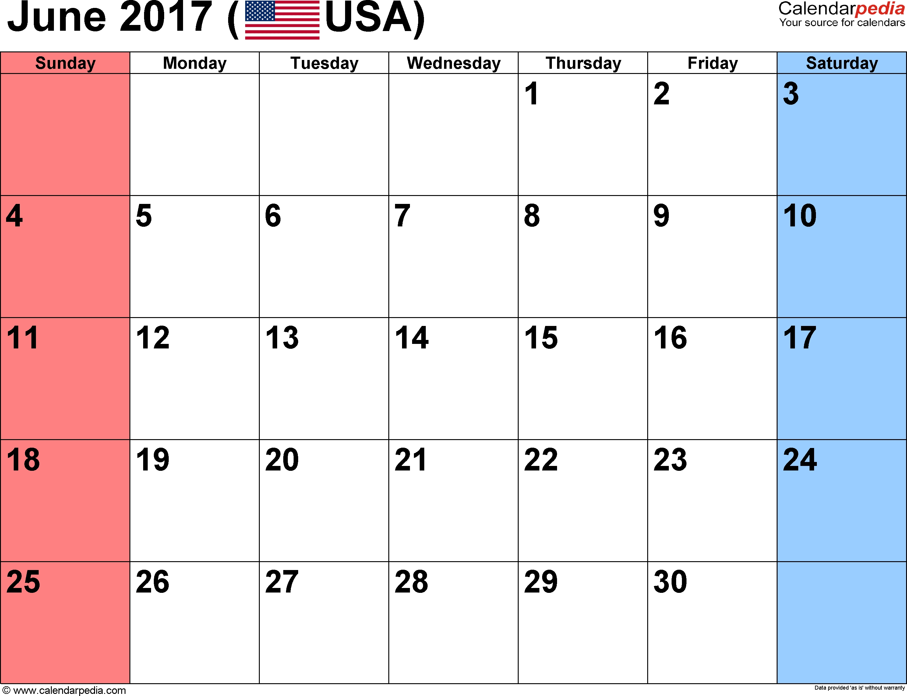June 2017 Calendars For Word Excel Pdf3abry