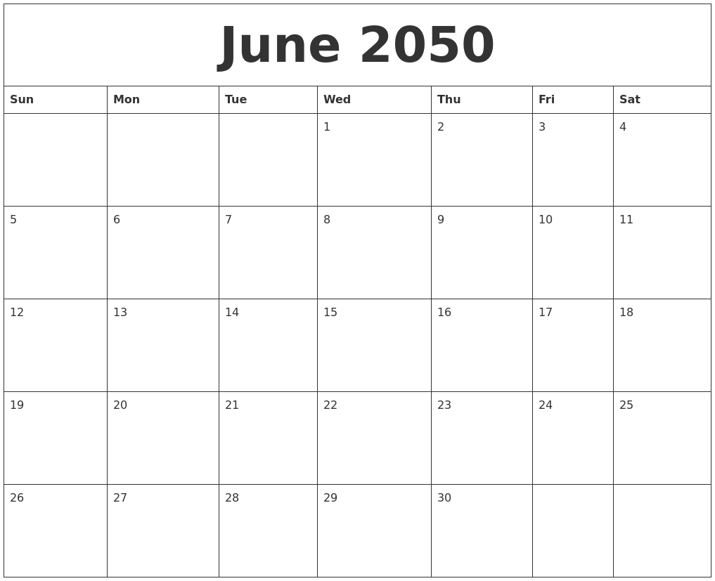 June 2050 Word Calendar 89uj