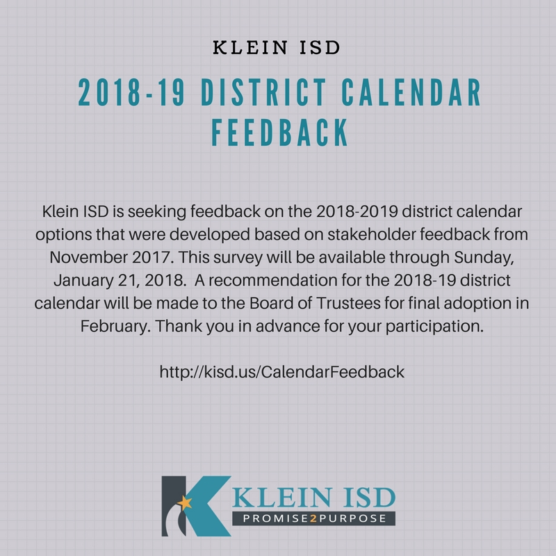 Klein Isd On Twitter 2018 19 District Calendar Options Have Been