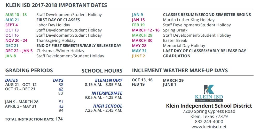 Klein Oak High School School District Instructional Calendar