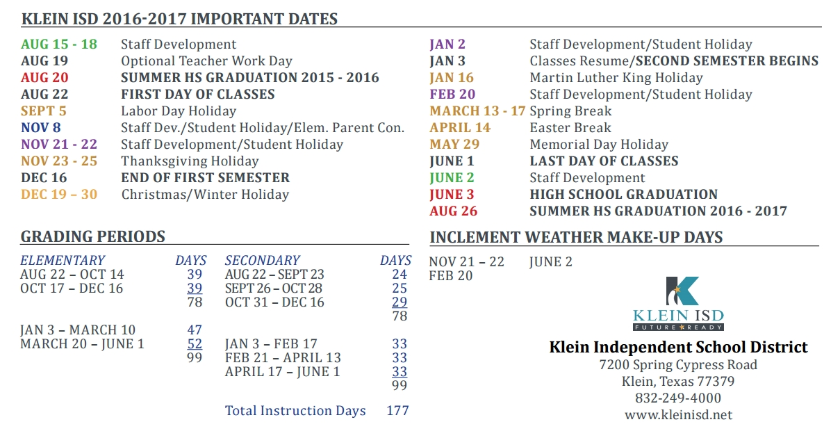 Klein Oak High School School District Instructional Calendar