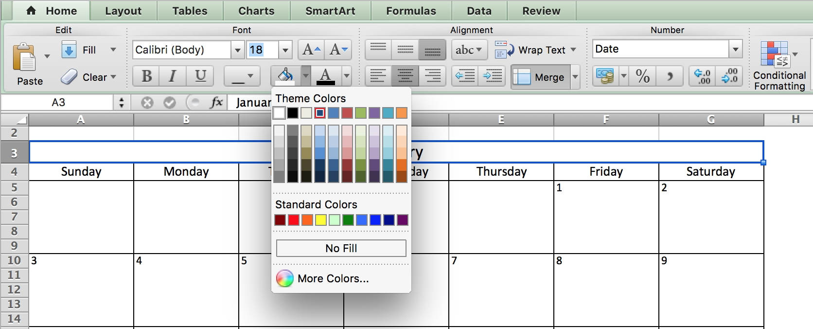 Make A 2018 Calendar In Excel Includes Free Template  Xjb