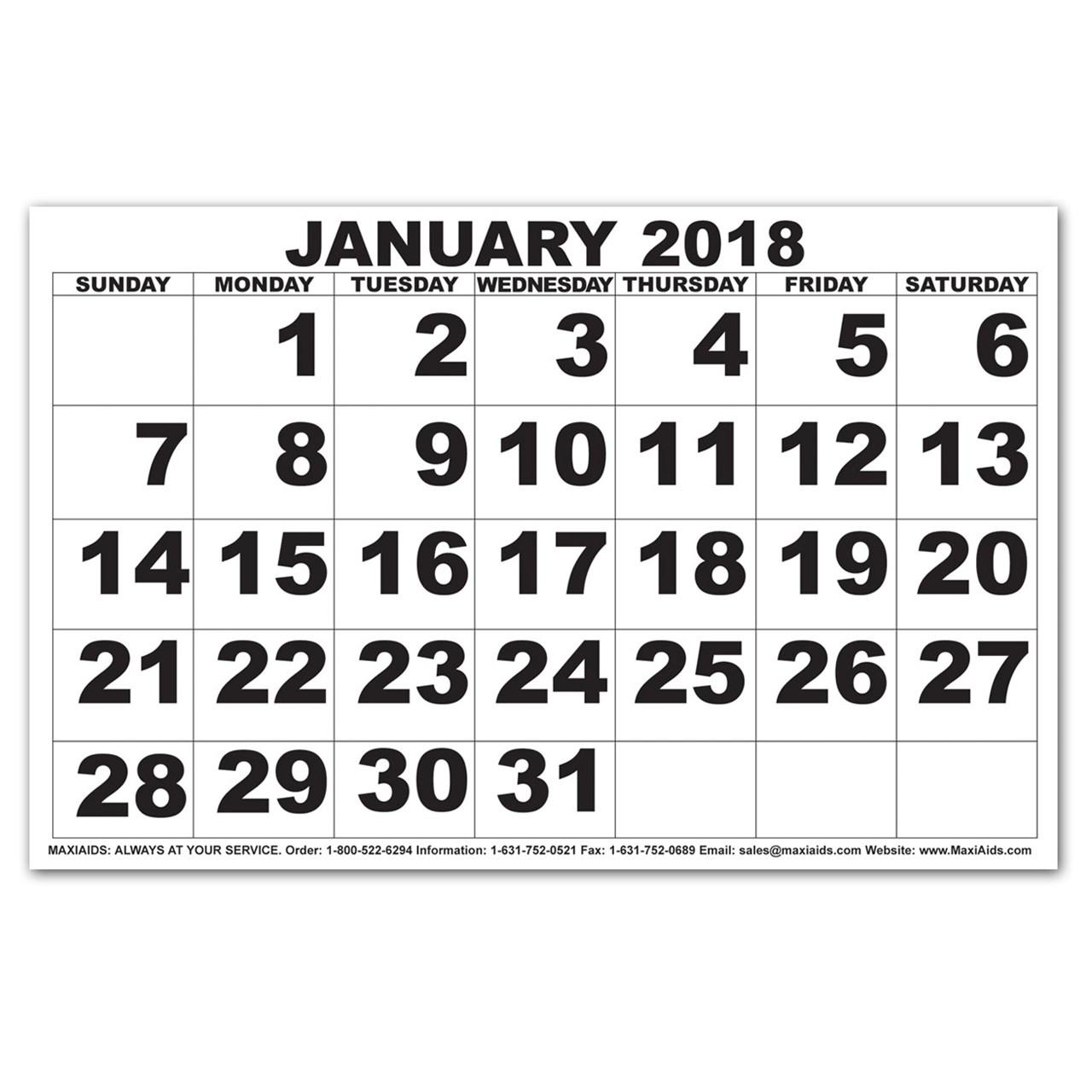 Maxiaids Low Vision Print Calendar 20183abry