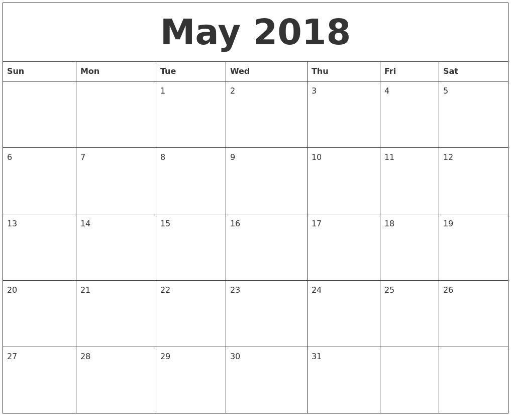 May 2018 Free Printable Calendar Templates 89uj