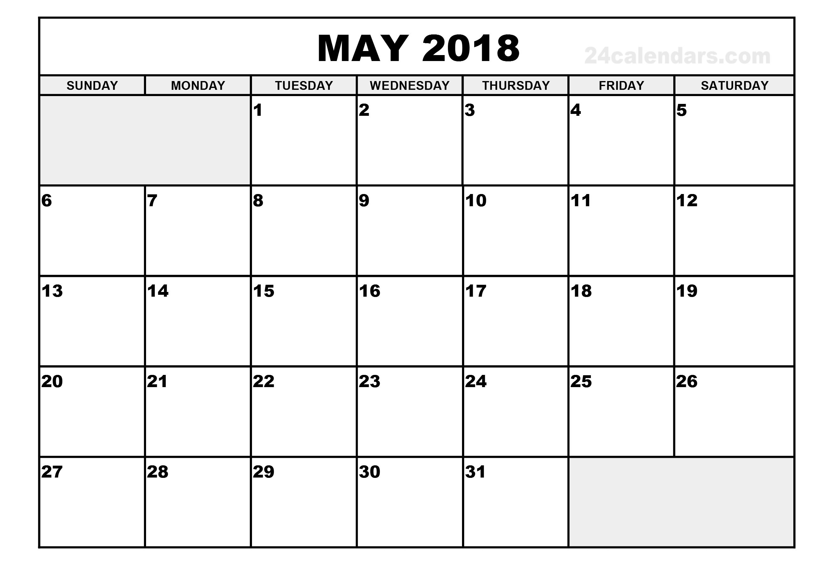 May 2018 Printable Calendar Free Printable Calendar 2018 89uj