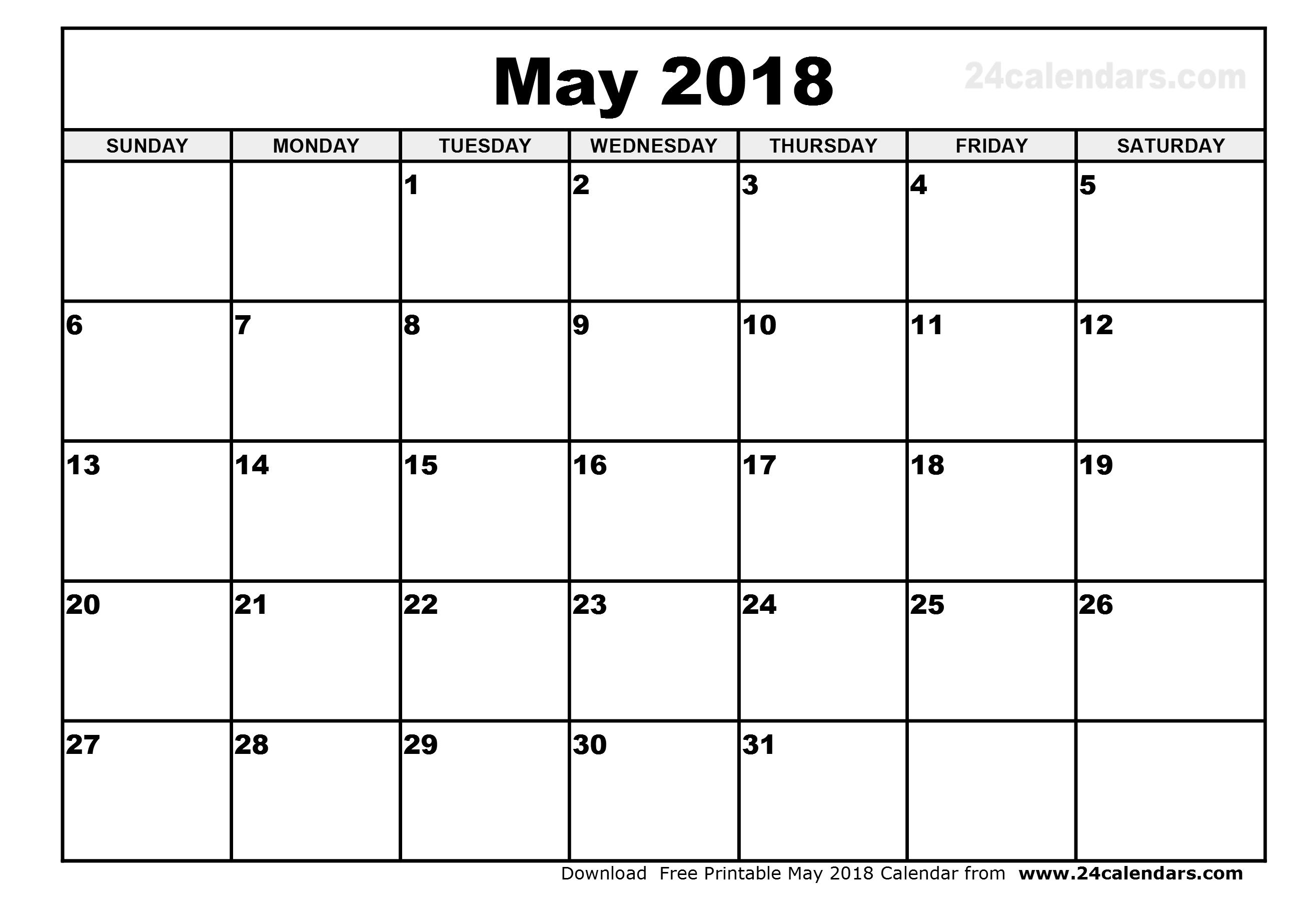 May 2018 Printable Calendar Monthly Calendar Template 89uj
