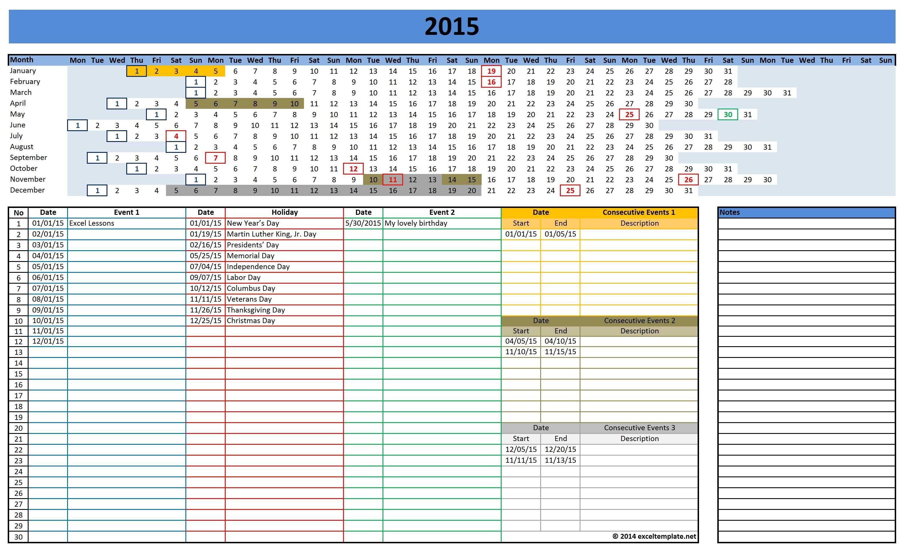 Microsoft Excel Calendar Templates 2015 Fieldstationco3abry