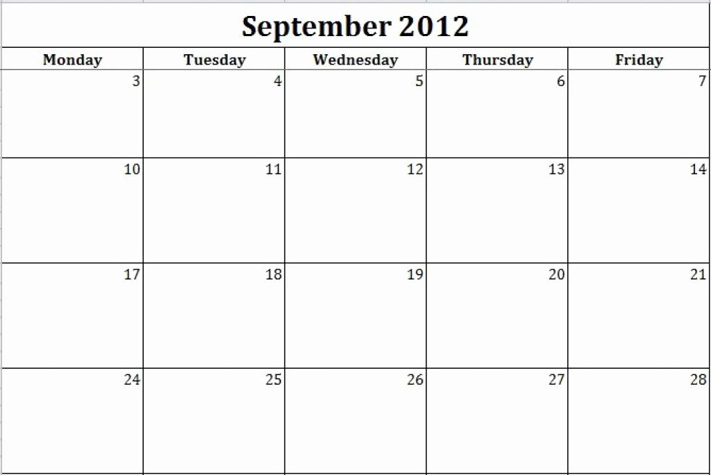 Monday Through Friday Calendar Template Unique Timetables As Free