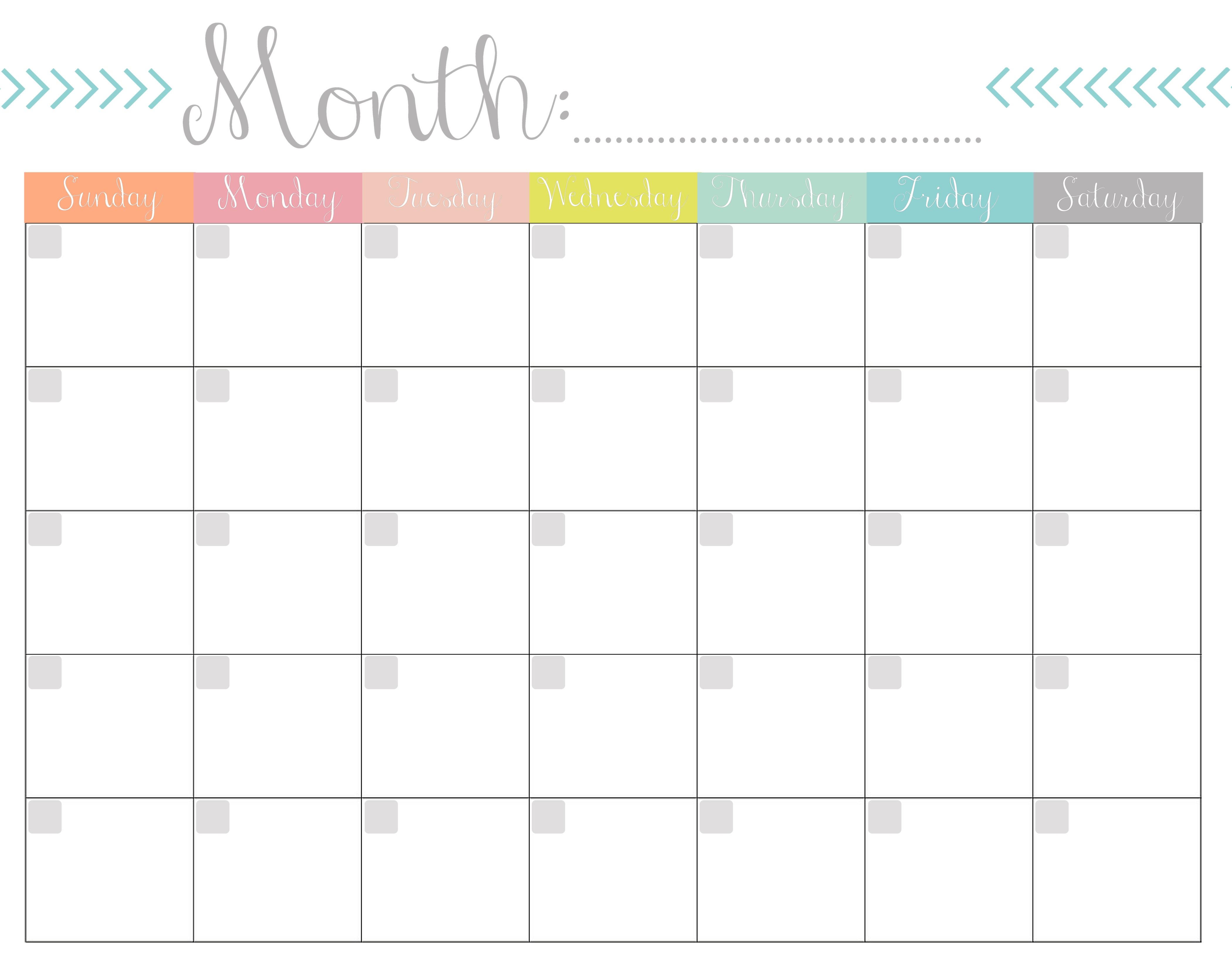 Monthly Calendar Free Printable