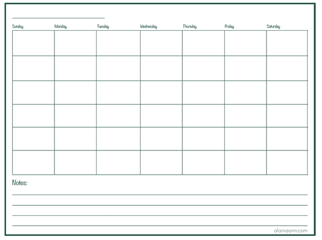 Free Printable Monthly Calendar With Lines : Blank monthly calendar with lines free template