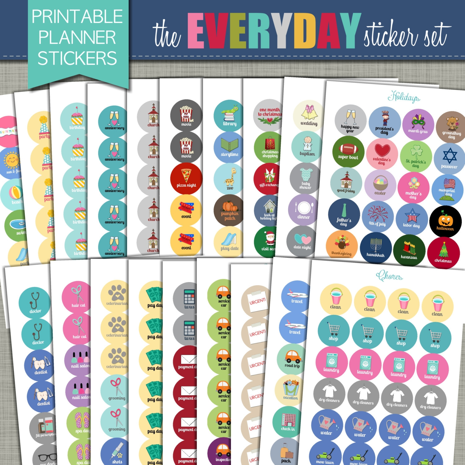 New Printable Planner Stickers Everyday Set 343abry