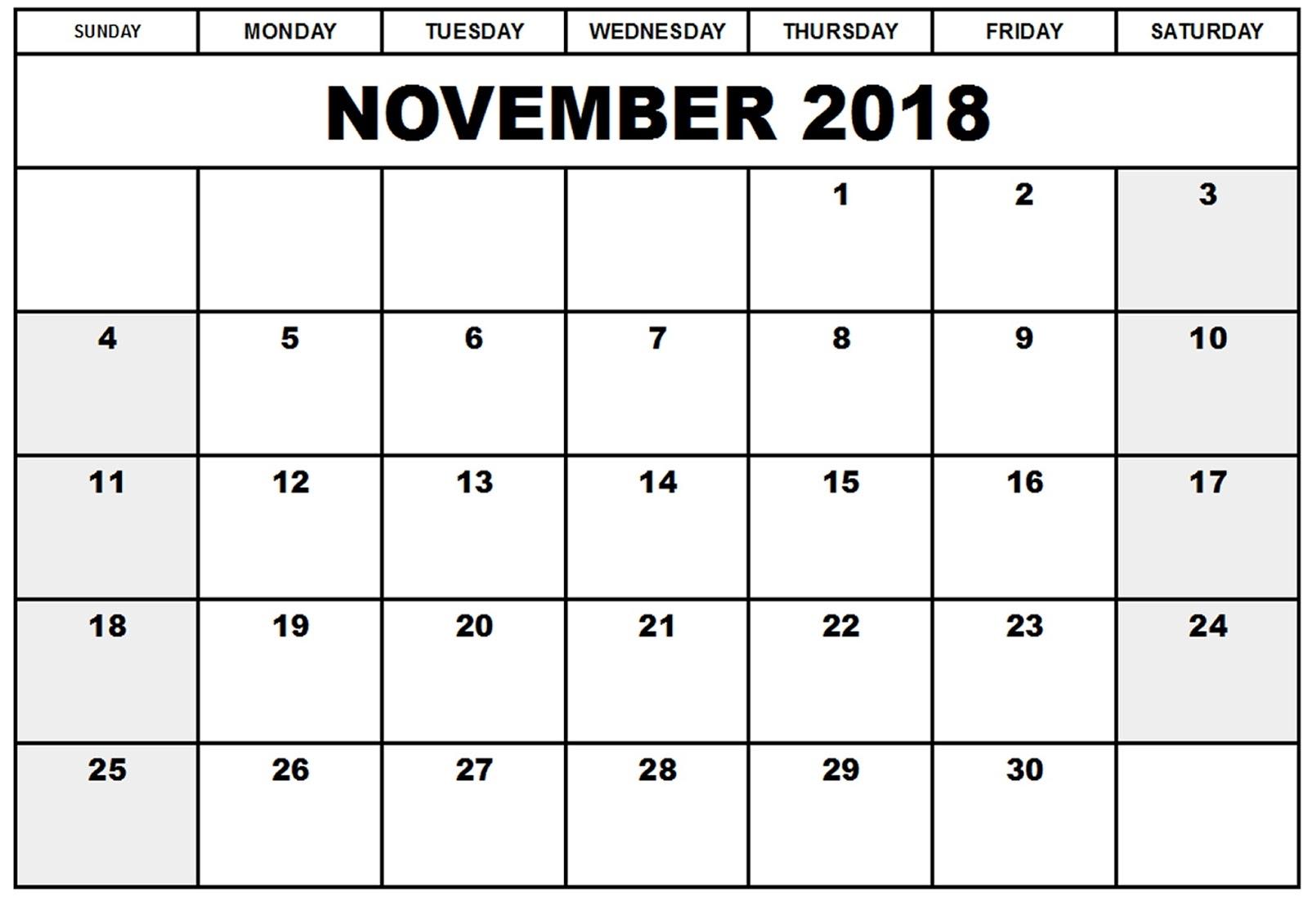 November 2018 Calendars The Calendar Spot Fieldstationco