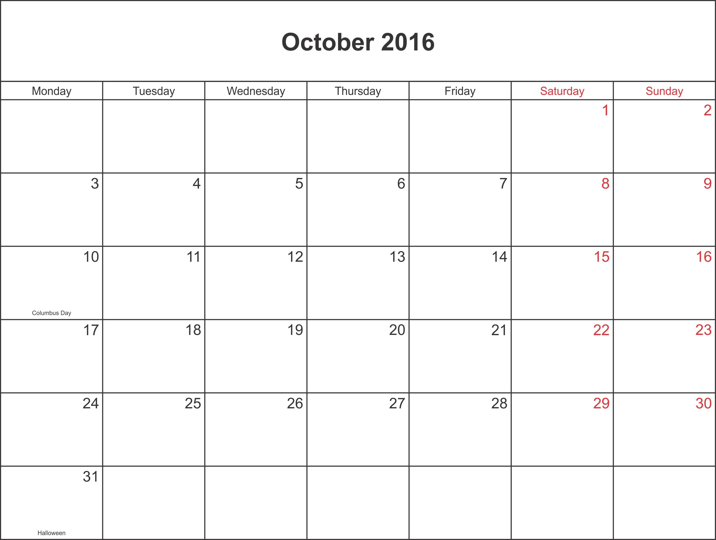 October 2016 Calendar Columbus Day 2016 Oct Calendar Pinterest