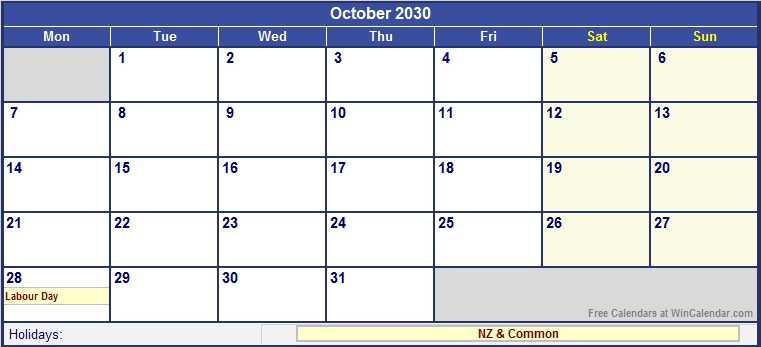 October 2030 New Zealand Calendar With Holidays For Printing
