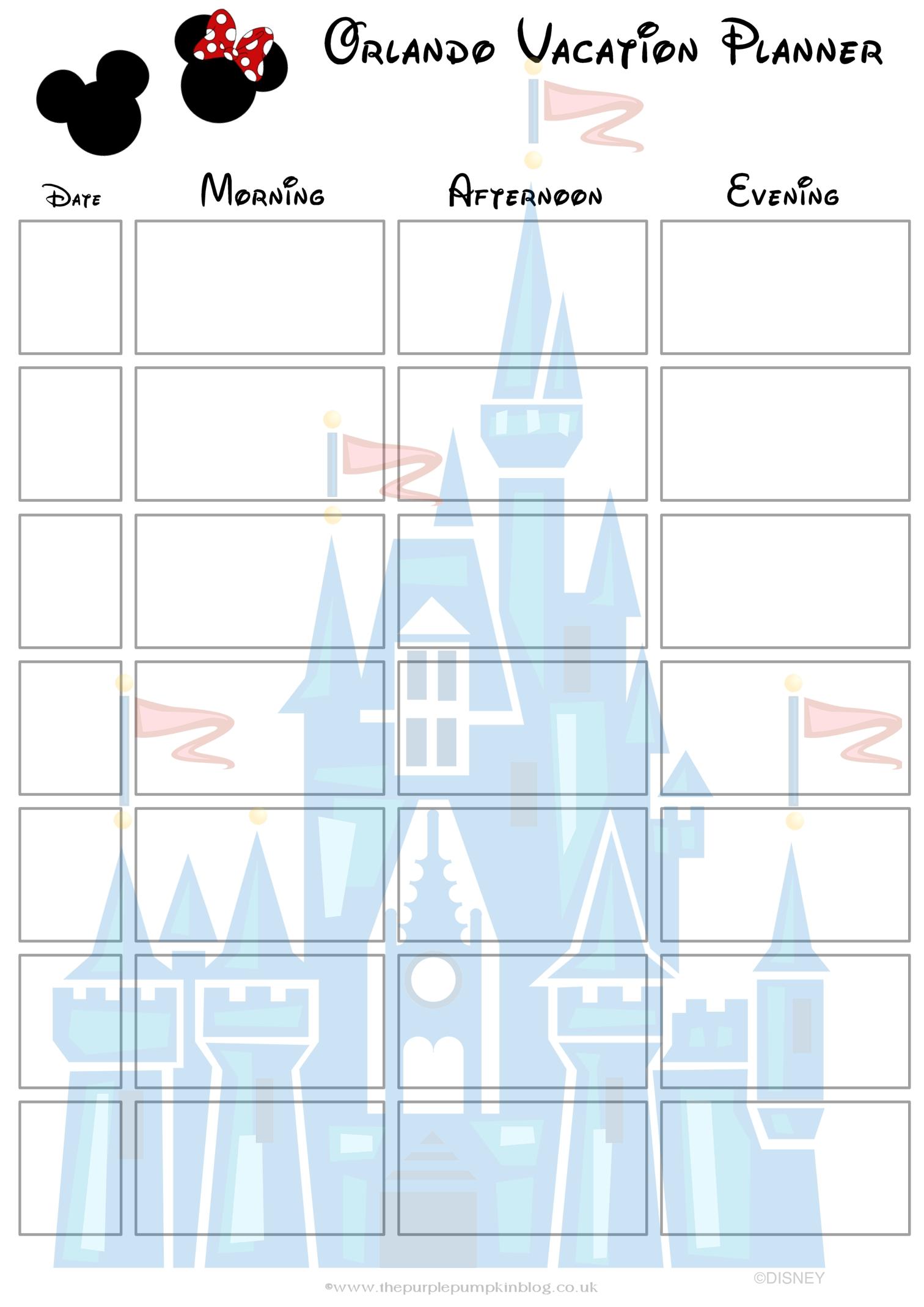 Orlando Walt Disney World Vacation Planner Free Printable  Xjb