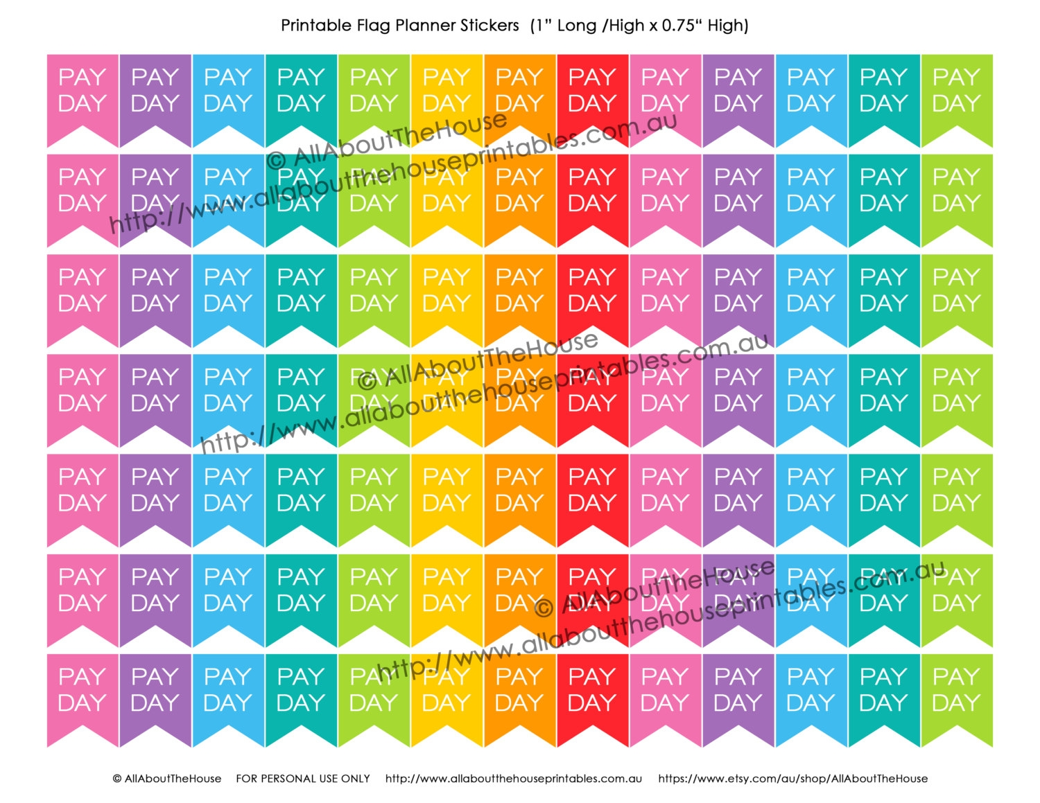 Pay Day Printable Planner Stickers Flag Banner Calendar Money3abry