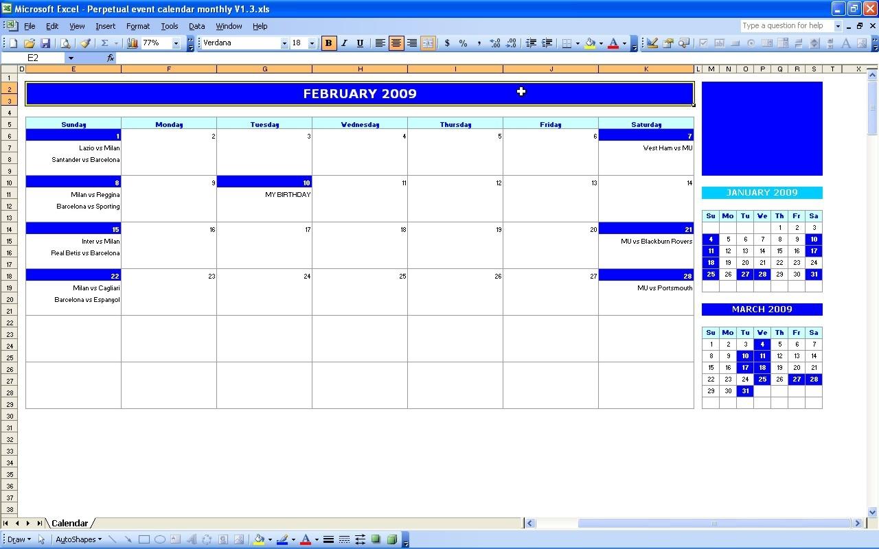 Perpetual Calendar Excel Online Calendar Templates