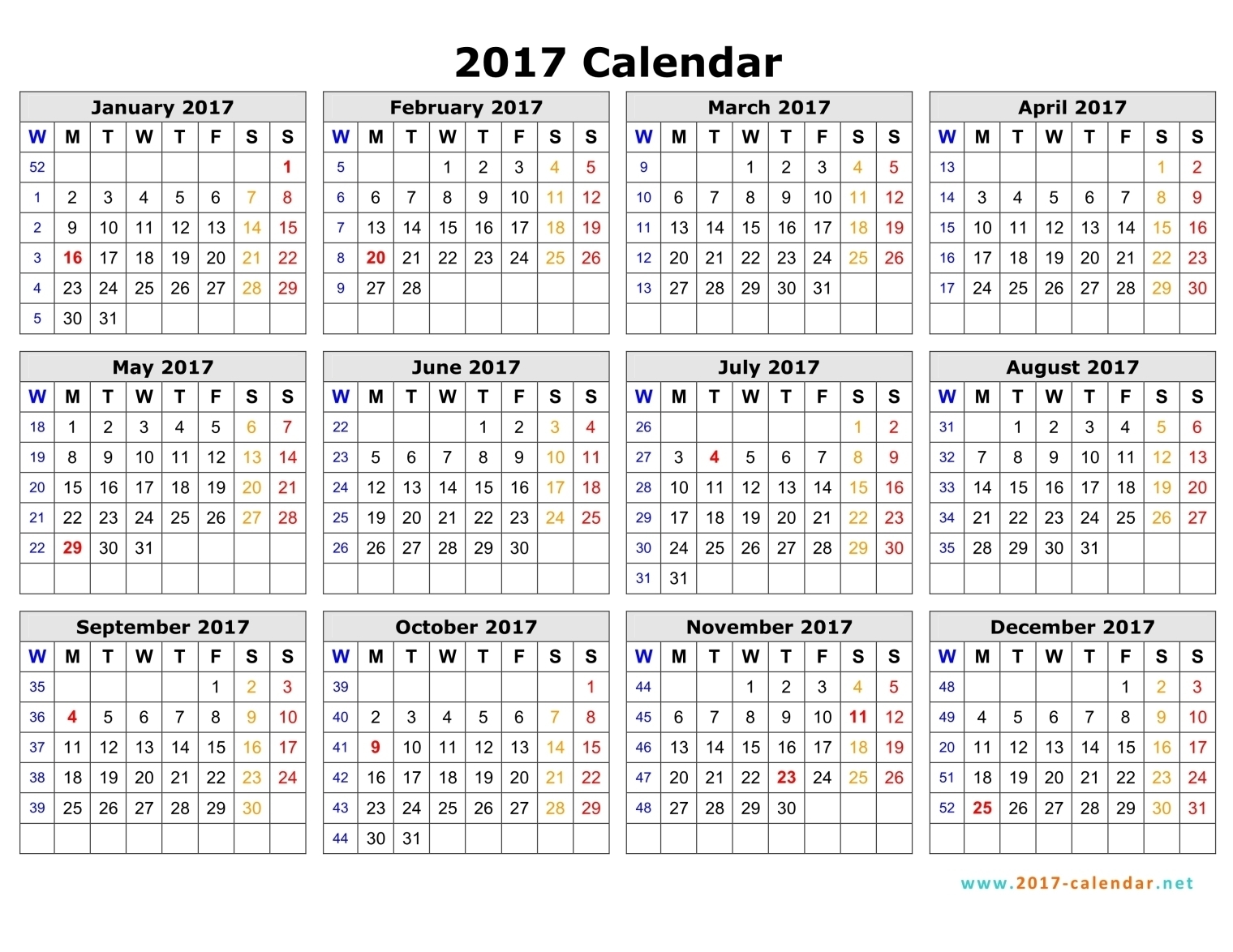 Printable 2017 Calendar  Xjb