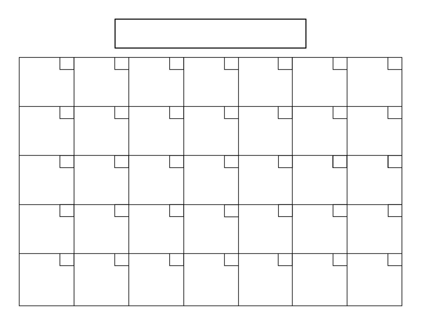 Printable Blank Calendar 85 X 11 Printable Diagram