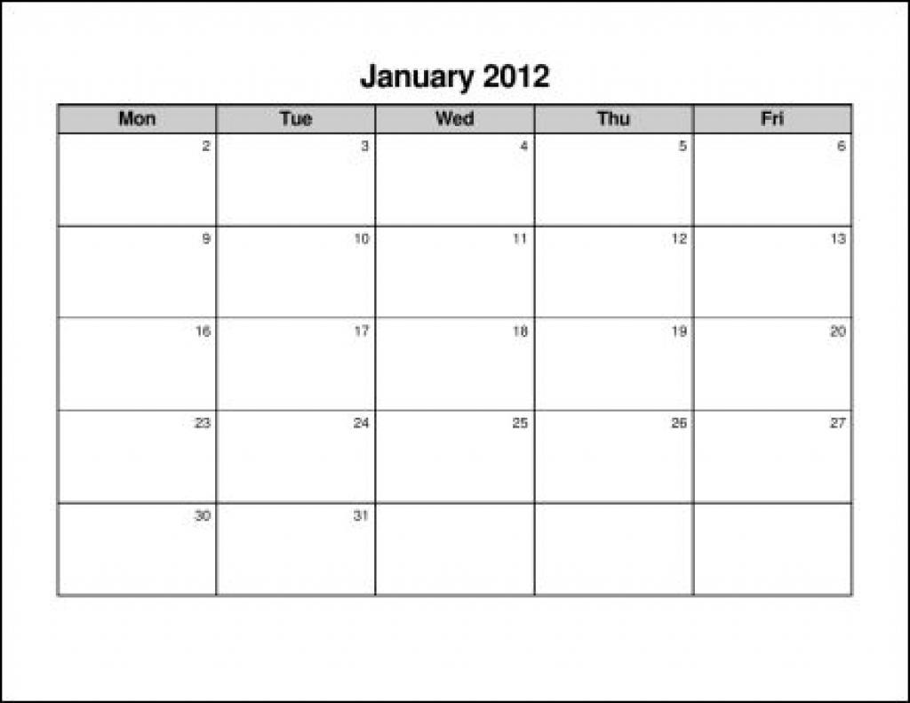 Printable Calendar Monday Through Friday Printable Online Calendar