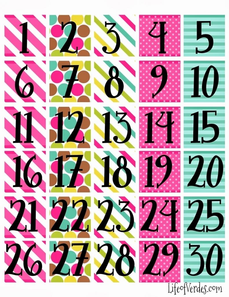 Printable Calendar Numbers 1 31 Calendar Printable 2018