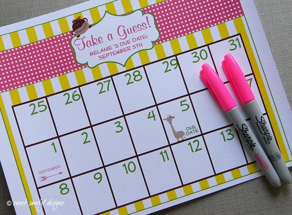 Printable Due Date Calendar Ba Shower Game Sweetsanity
