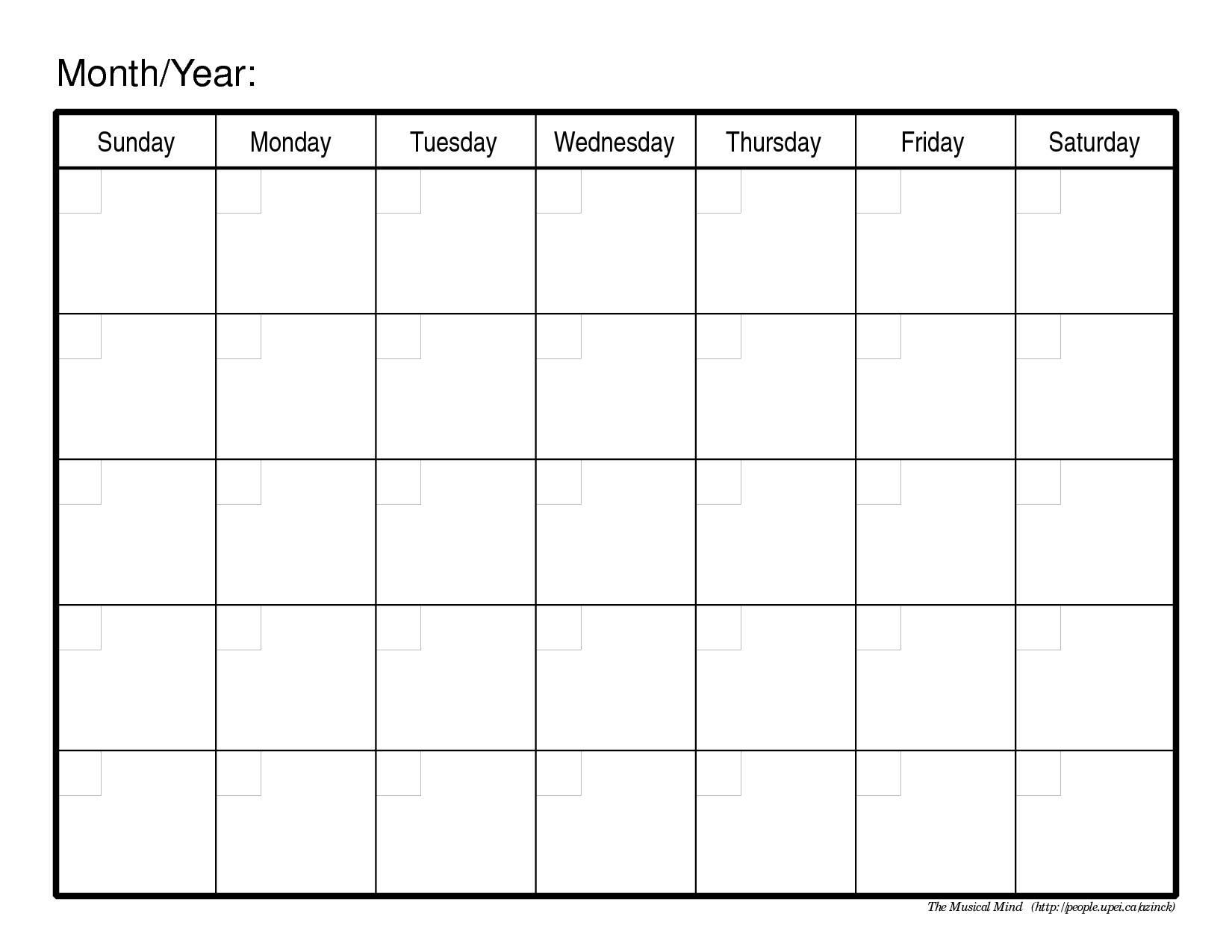Printable Free Calendar Template Commonpenceco