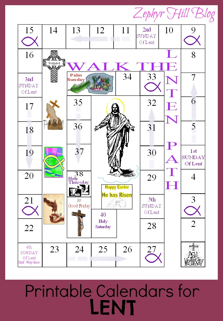 Printable Lenten Calendars For Kids Zephyr Hill3abry