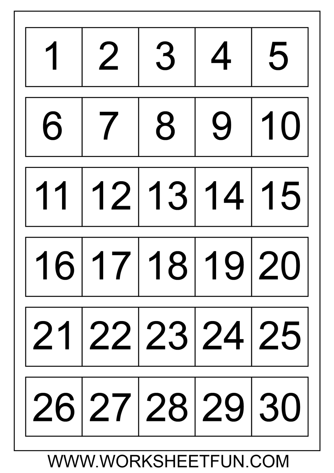 Printable Numbers 1 31 Free Calendar Template