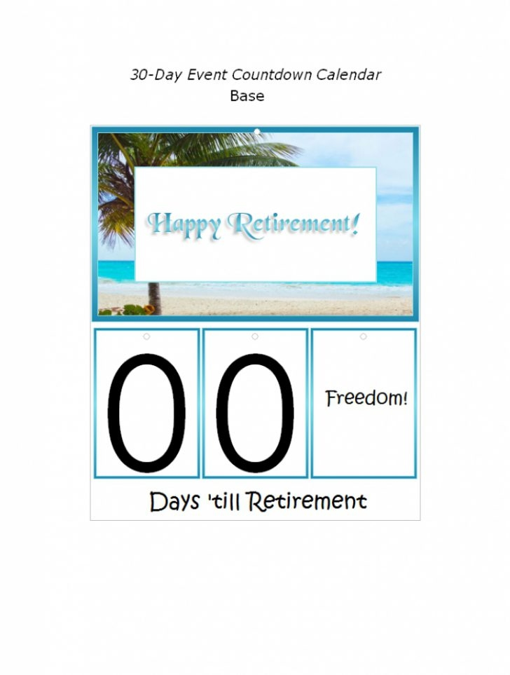 Retirement Calendar Countdown Printable Calendar 2018