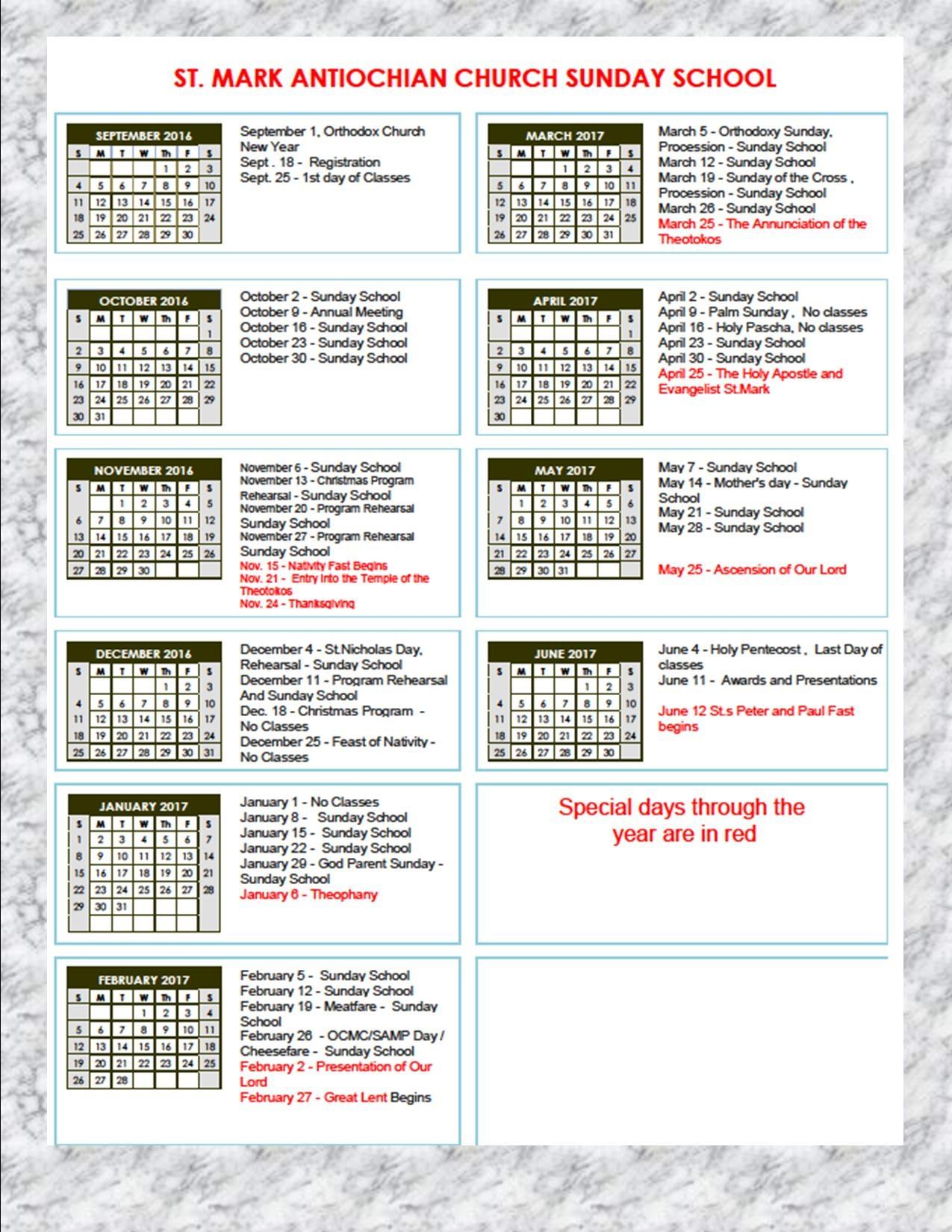 Russian Orthodox Fasting Calendar Sunday School Calendar 2016 20173abry