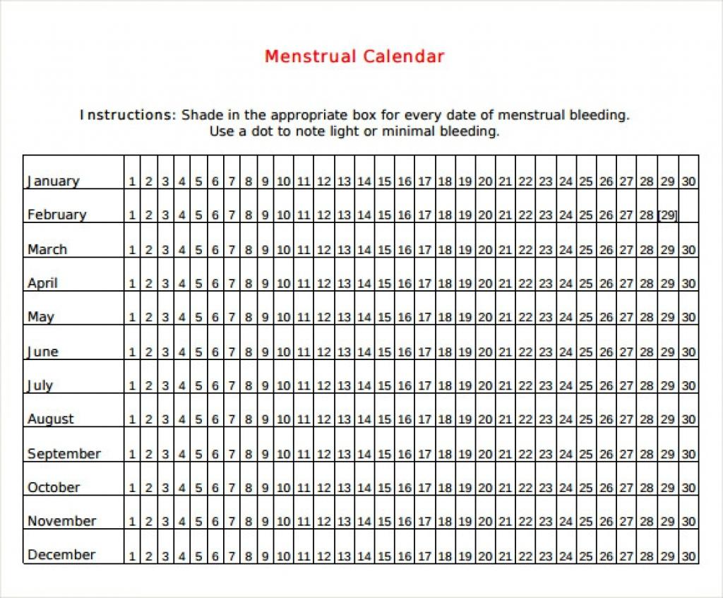 Sample Menstrual Calendar Template 6 Free Documents In Pdf Word3abry