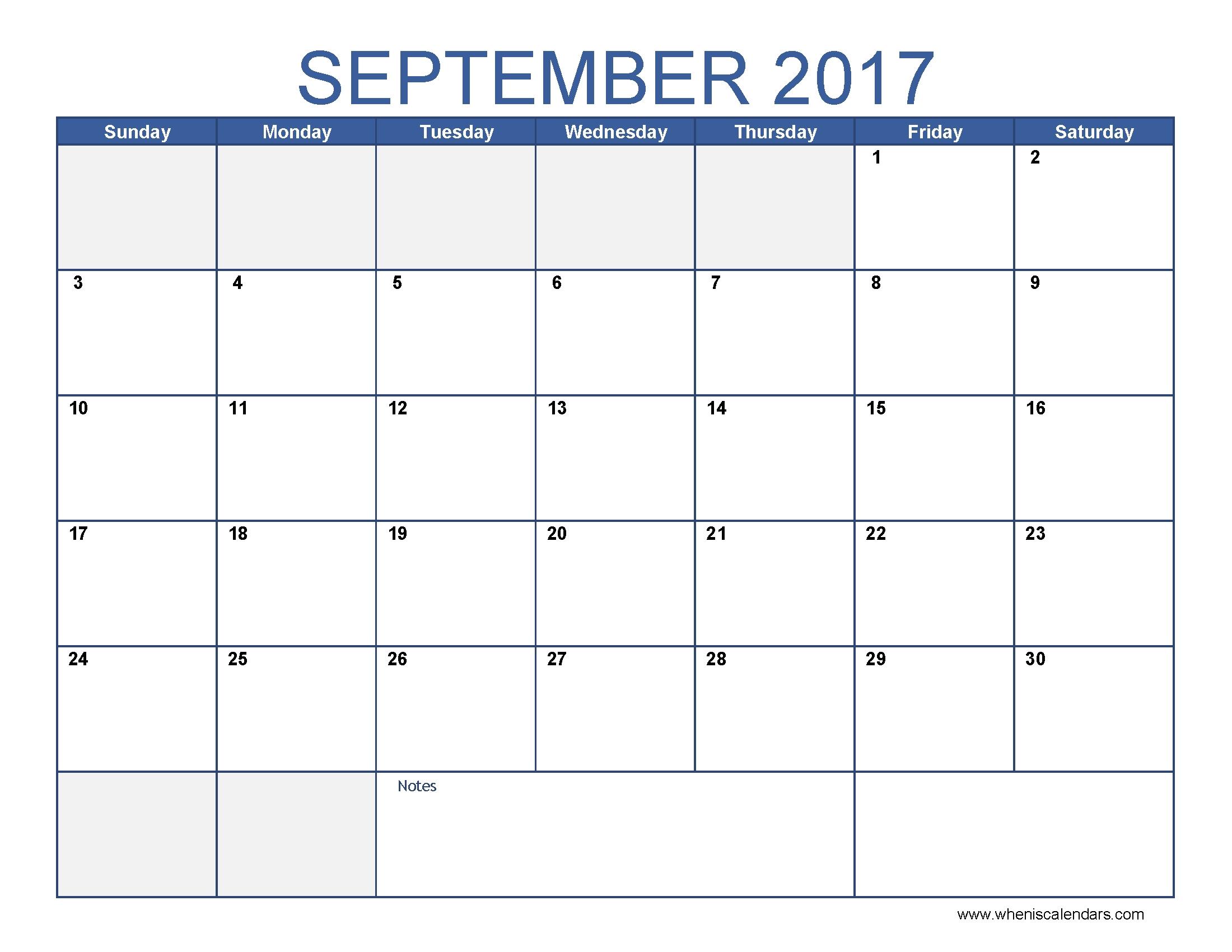 September 2017 Calendar Template Calendar Printable Free  Xjb