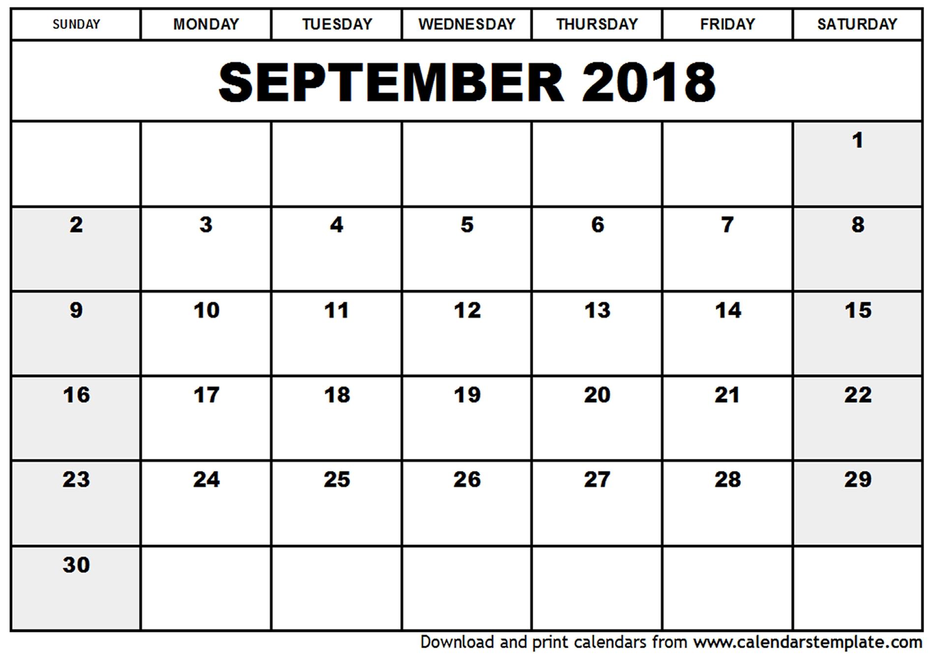 September Monthly Calendar 2018 Fieldstationco  Xjb