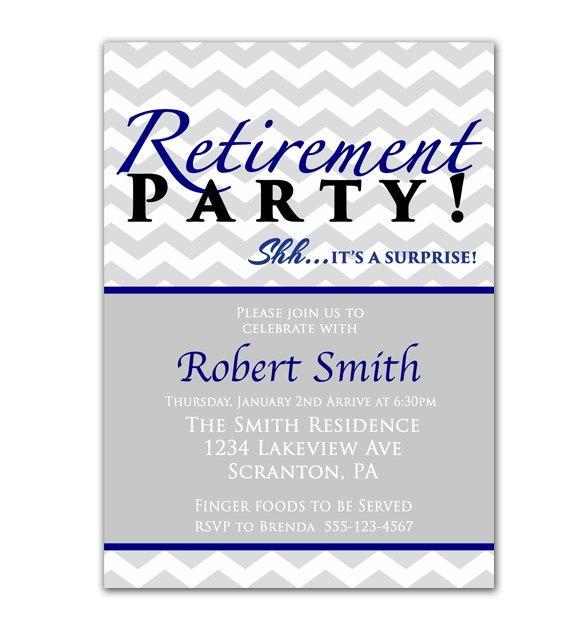 Surprise Retirement Party Invitation Gray Chevron Navy Blue