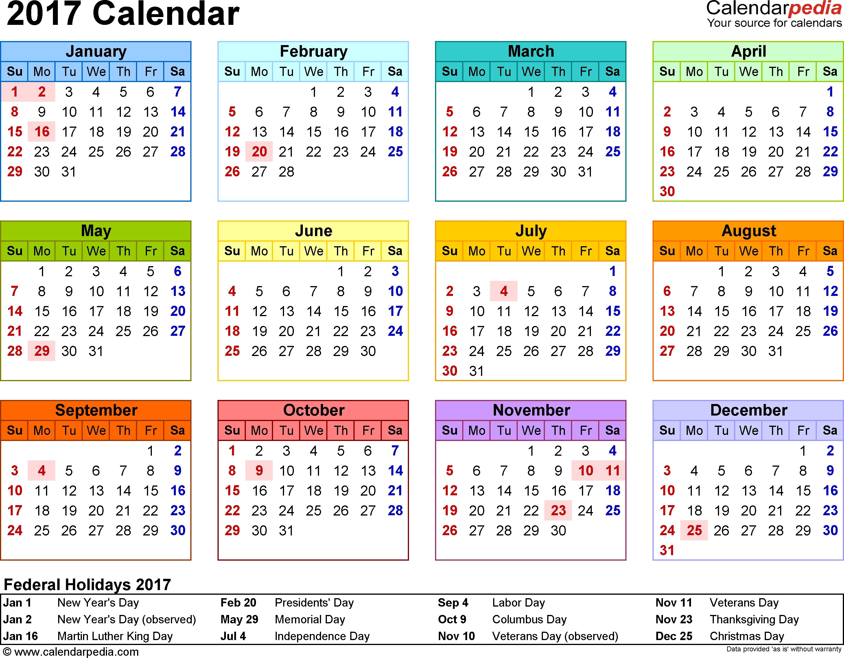 Template 8 2017 Calendar For Word Year At A Glance 1 Page In  Xjb