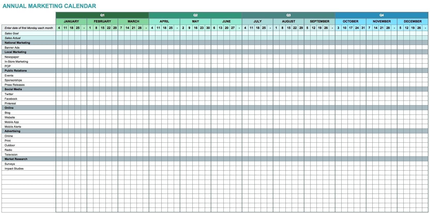 Template Annual Calendar Template Excel3abry