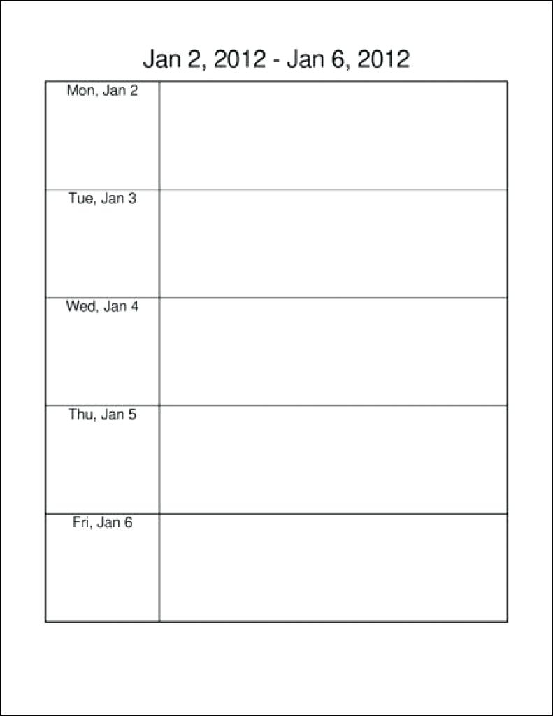 Template Monday To Friday Calendar Template 89uj