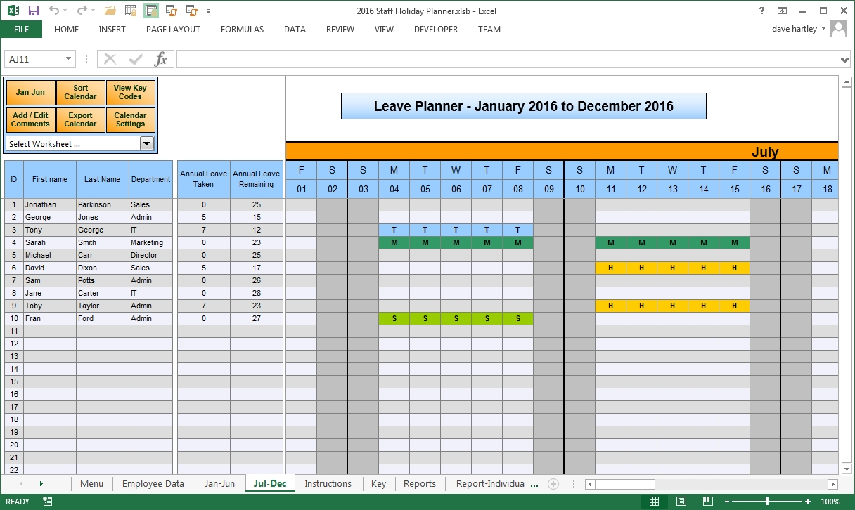 The Staff Leave Calendar A Simple Excel Planner To Manage Staff  Xjb