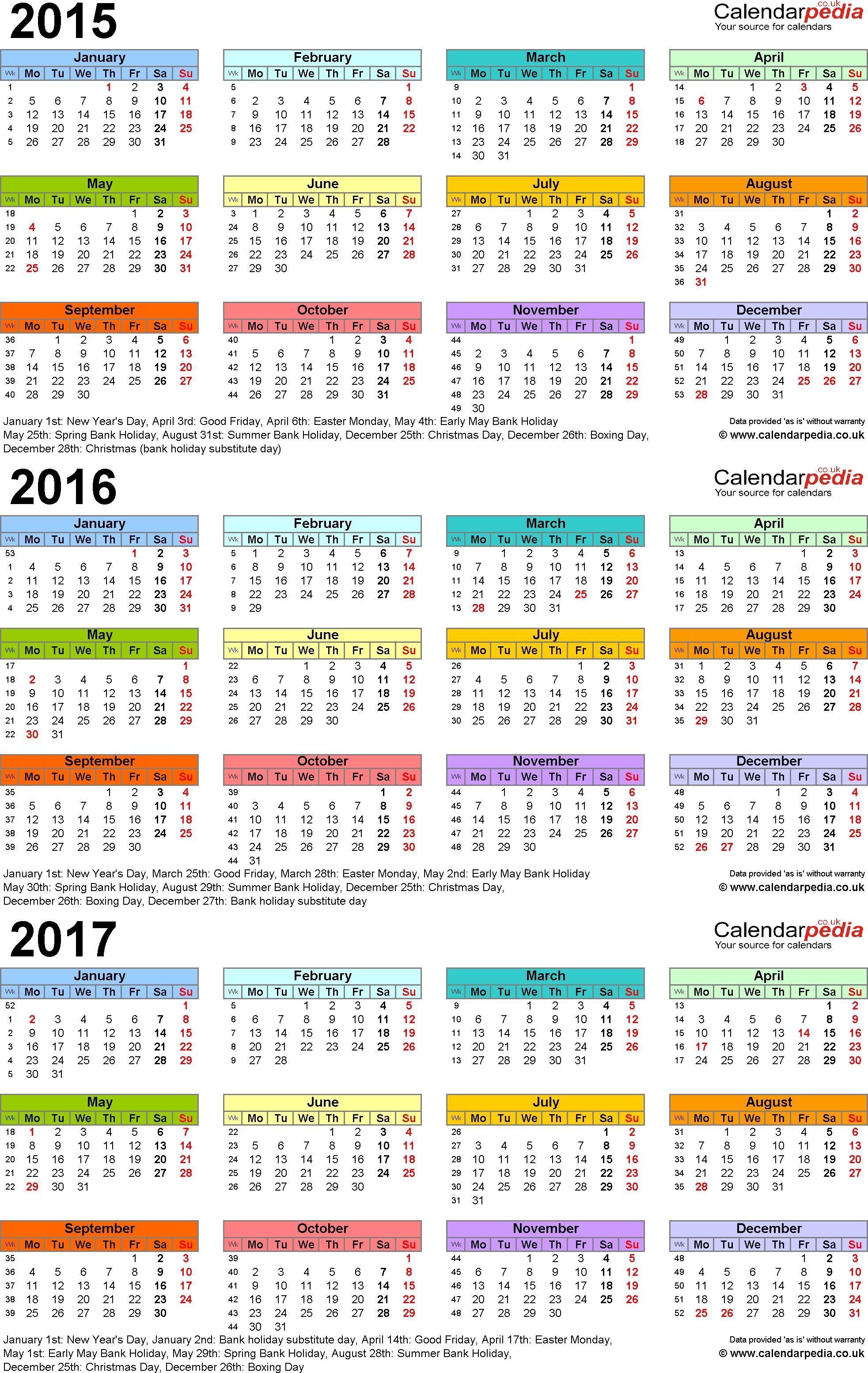 Three Year Calendars For 2015 2016 2017 Uk For Pdf  Xjb