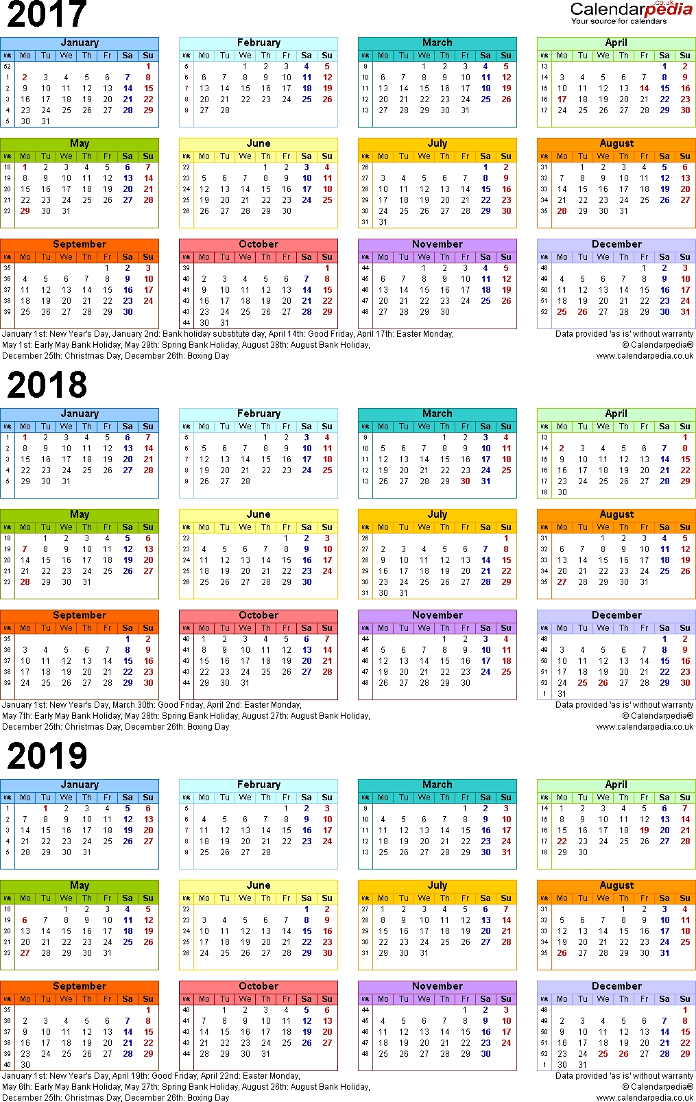 Three Year Calendars For 2017 2018 2019 Uk For Pdf  Xjb