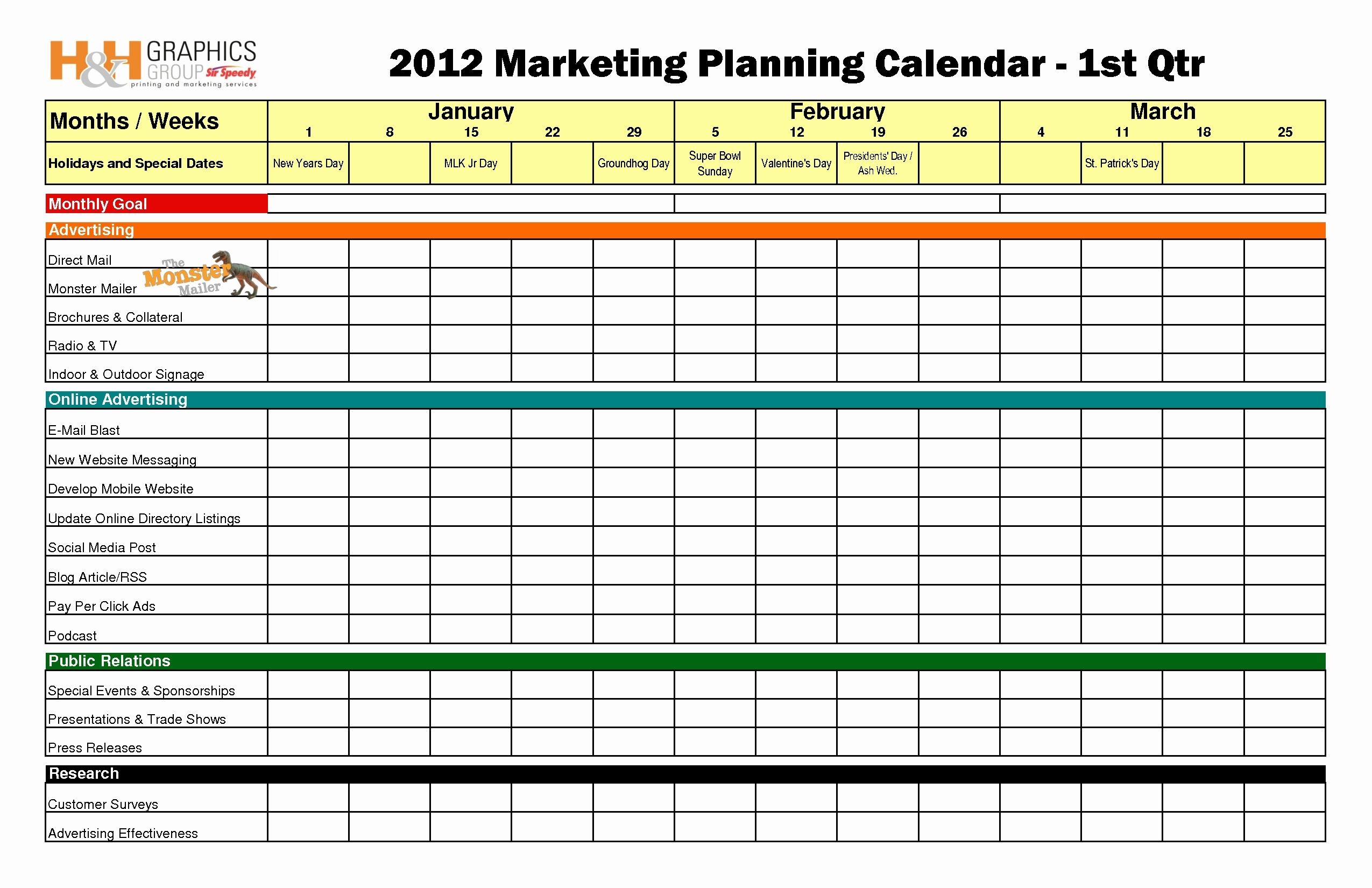 Unique Social Media Calendar Template Templates Design3abry