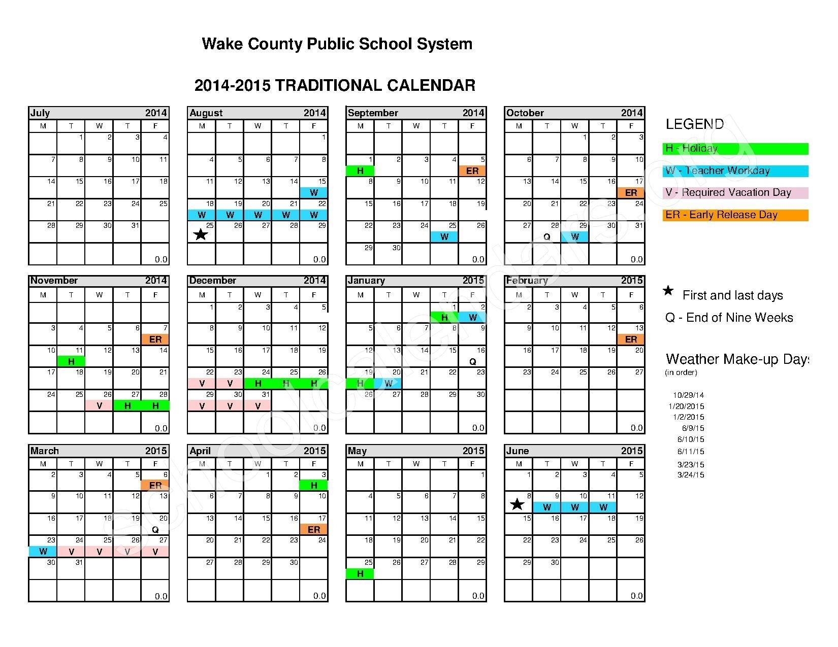 Wake County Public School Calendar Calendar Picture Templates