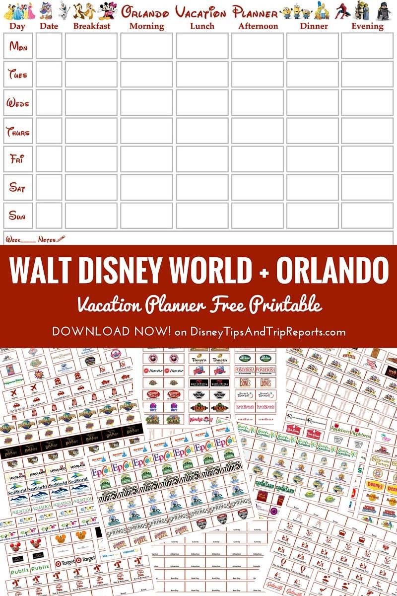 Walt Disney World Orlando Vacation Planner Free Printable  Xjb