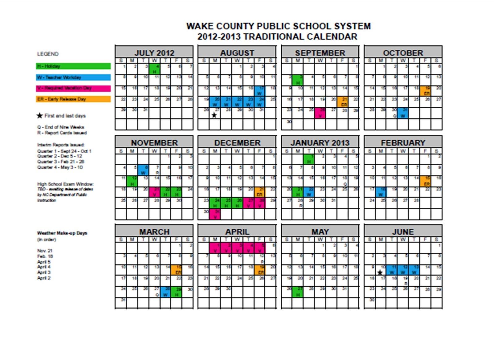 Wcpss Year Round Calendar 2017 16 2018 Calendar Printable