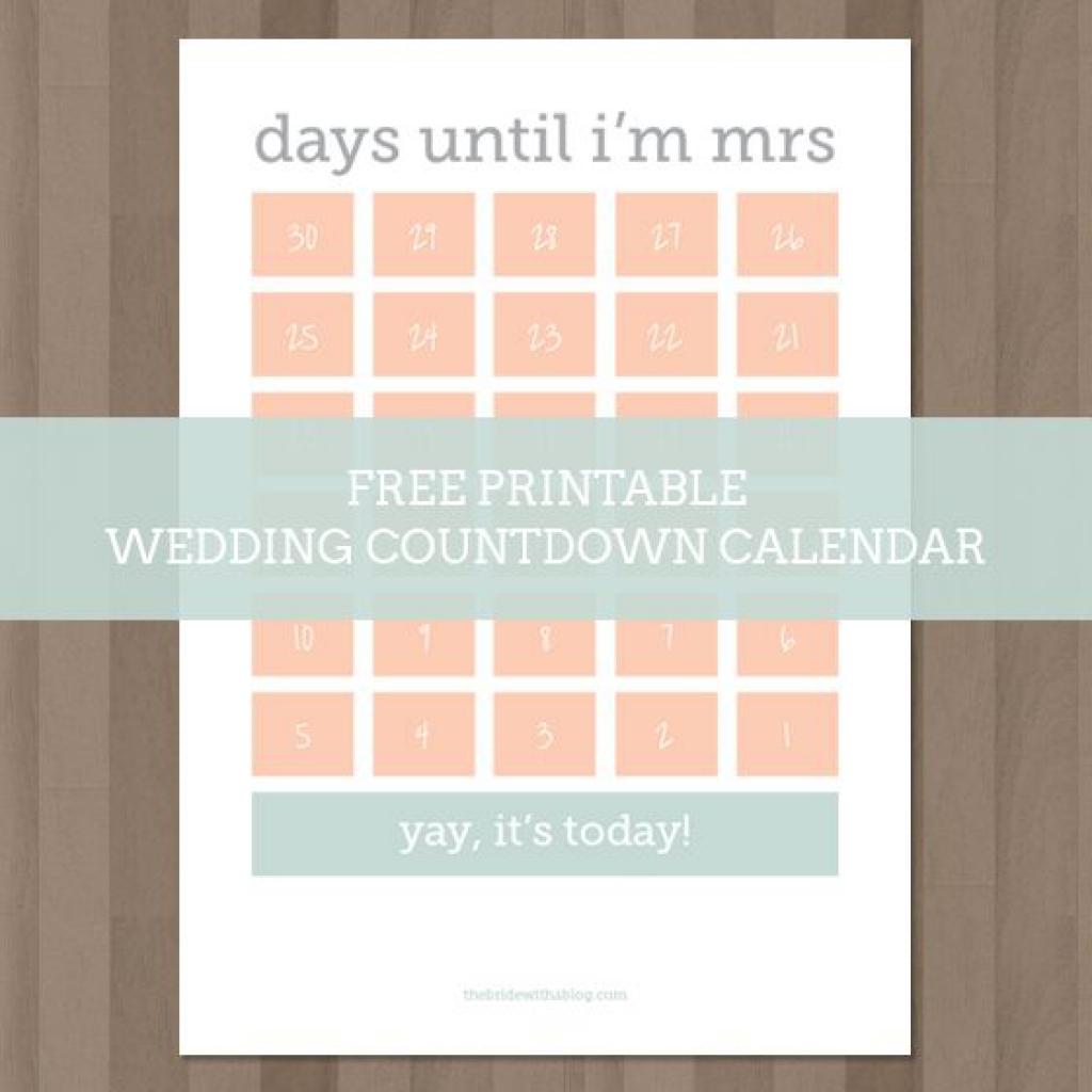 Wedding Calendar Countdown Printable