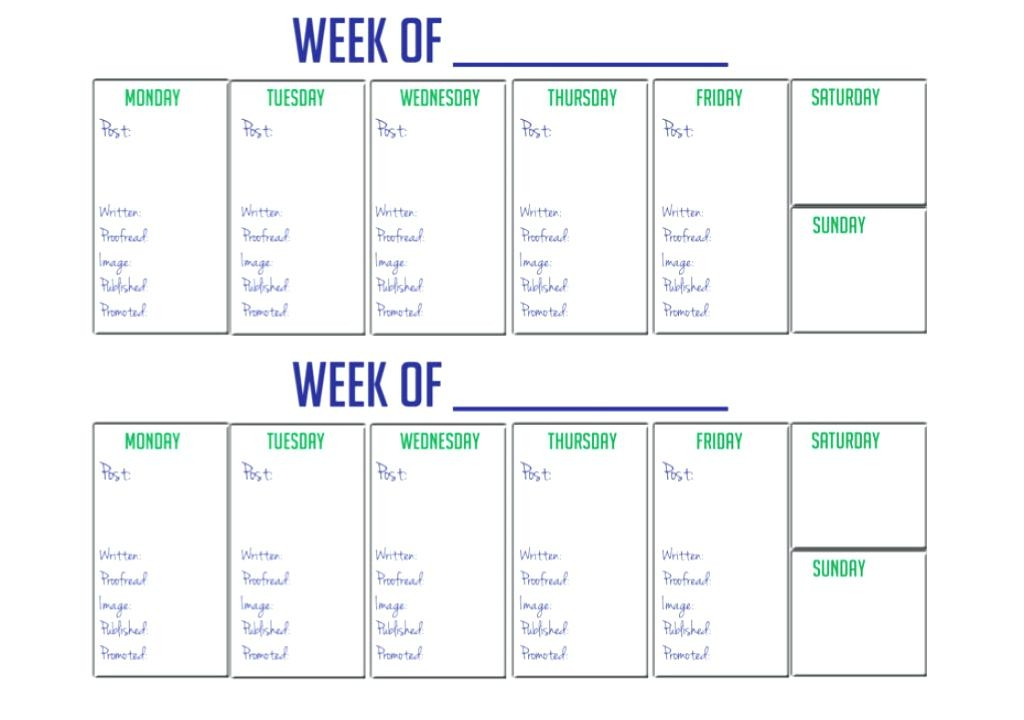 Week Calendar Printable Free Two Week Calendar Template Free