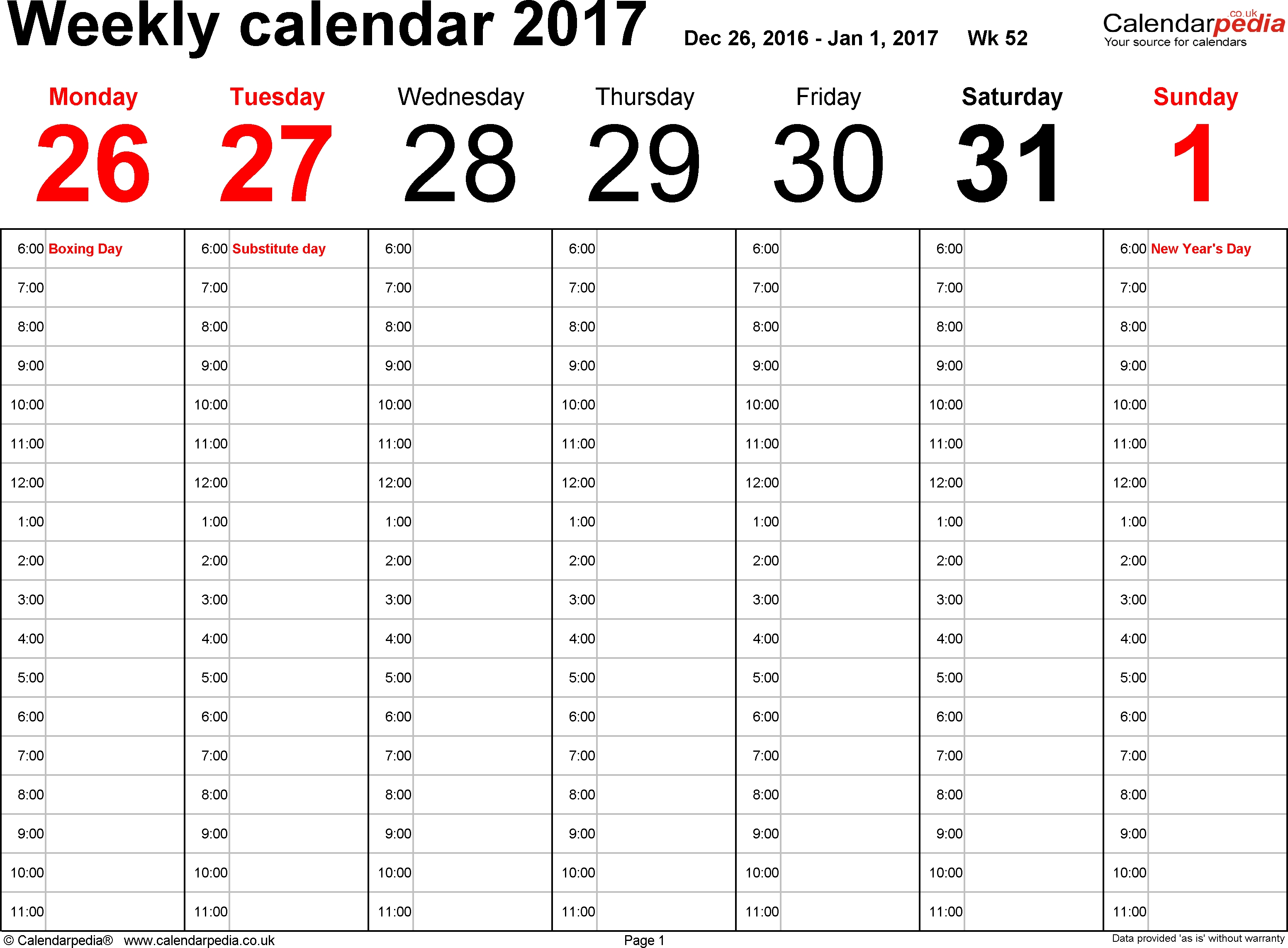Weekly Calendar 2017 Uk Free Printable Templates For Word3abry